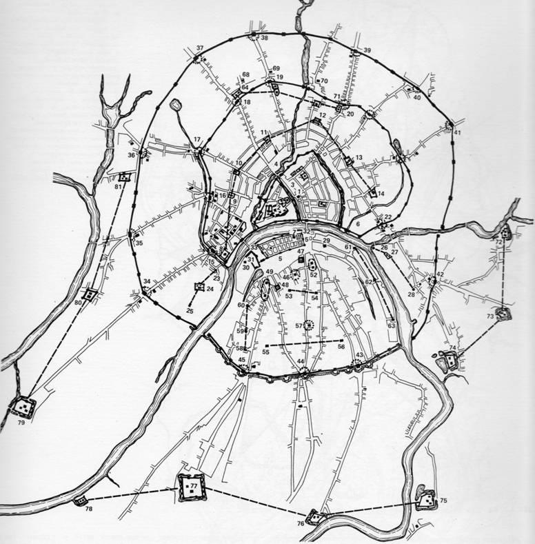 Под кликом - большая карта 17 века из французского издания описание вселенной, содержащее различные схемы мира